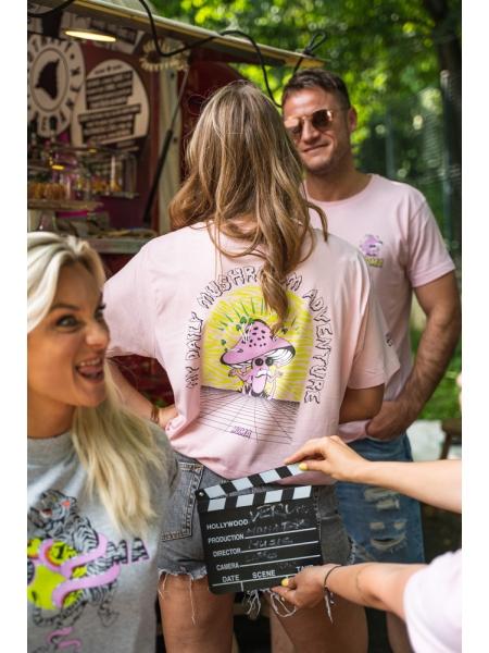 Růžové tričko s potiskem houbičky
